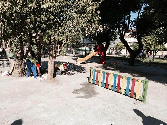 Actuales obras en el Parque de San Eufrasio, en Andújar.