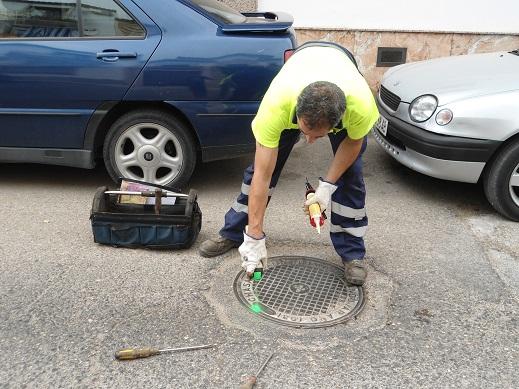 Un operario municipal de Andújar trabaja en los tratamientos de desinsectación.