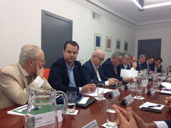 El secretario general de COAG-Jaén y responsable del sector del Aceite de COAG-Andalucía, Juan Luis Ávila, en esta reunión.