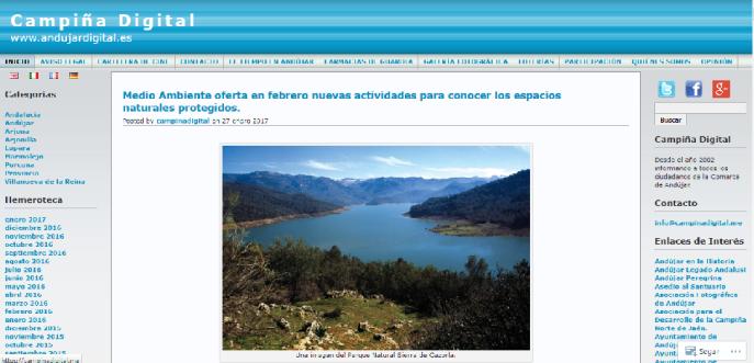 Portada del diario Campiña Digital.