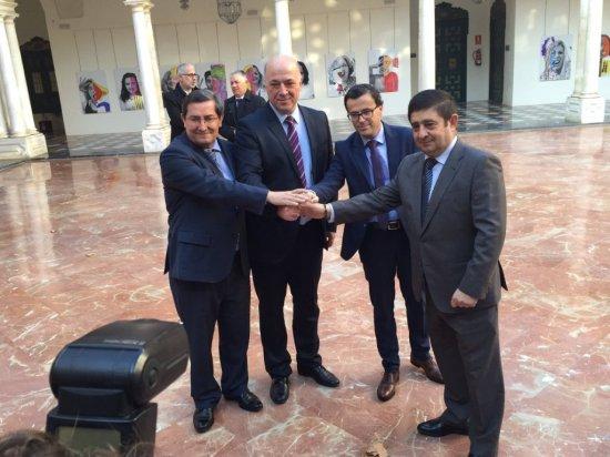 José Entrena, Antonio Ruiz, Miguel Ángel Gallardo y Francisco Reyes, antes de iniciarse este encuentro.