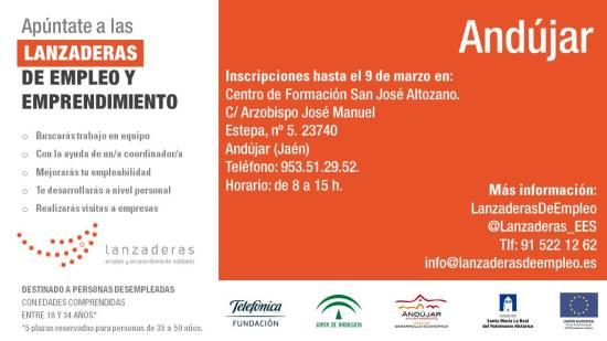 Cartel anunciador de esta Lanzadera de Empleo. Foto: Ayuntamiento de Andújar.