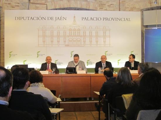 Manuel Medina, Ángel Vera, Juan Manuel Fernández y Antonio de la Torre durante la inauguración de estas jornadas.